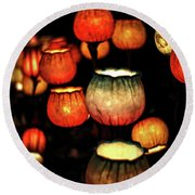 Flower Lamps Round Beach Towel