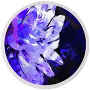 Flower Lavender Lilac Blue Round Beach Towel