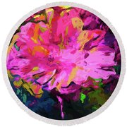 Flower Lolly Pink Yellow Round Beach Towel