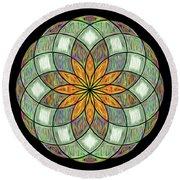 Round Beach Towel featuring the digital art Flower Mandala Painted By Kaye Menner by Kaye Menner
