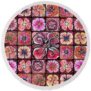 Flower Montage Round Beach Towel by Shadia Derbyshire