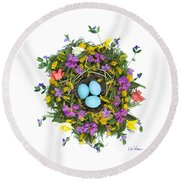 Flower Nest Round Beach Towel
