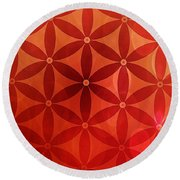 Flower Of Life  Round Beach Towel by Serena King