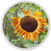 Flower Of The Sun Round Beach Towel by Larry Bishop