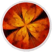 Flower Of Time By Raphael Terra Round Beach Towel