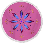 Round Beach Towel featuring the mixed media Flower On Pink by Elizabeth Lock