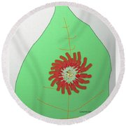 Flower On The Leaf Round Beach Towel by Lenore Senior