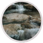 Round Beach Towel featuring the photograph Flower Park by Iris Greenwell