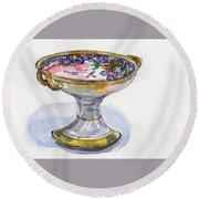Flower Pedestal Dish Round Beach Towel