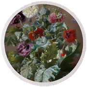 Flower Piece With Poppies And Butterflies Round Beach Towel by Celestial Images