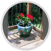 Flower Pot Round Beach Towel