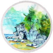 Flower Pot Island Round Beach Towel