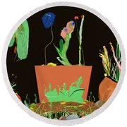 Flower Pot Panel Round Beach Towel
