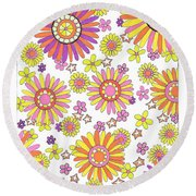 Flower Power 1 Round Beach Towel