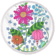 Flower Power 3 Round Beach Towel