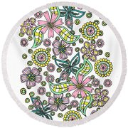 Flower Power 5 Round Beach Towel