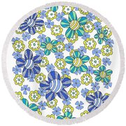 Flower Power 7 Round Beach Towel