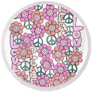 Flower Power 8 Round Beach Towel