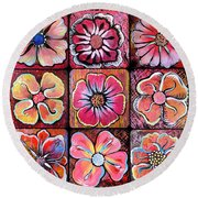 Flower Power Montage Round Beach Towel by Shadia Derbyshire
