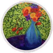 Round Beach Towel featuring the painting Flower Power by Nancy Jolley