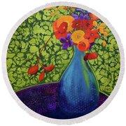 Flower Power Round Beach Towel by Nancy Jolley