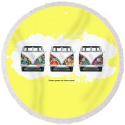 Flower Power Vw Round Beach Towel