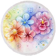 Flower Power Watercolor Round Beach Towel