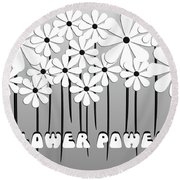 Flower Power - White  Round Beach Towel