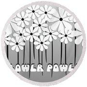 Flower Power - White  Round Beach Towel