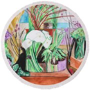 Flower Shop Fantasy Round Beach Towel by Esther Newman-Cohen