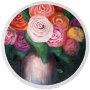 Flower Spirals Round Beach Towel