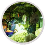 Round Beach Towel featuring the photograph Flower Stalls Market Chennai India by Mike Reid
