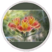 Flower Streaks Round Beach Towel