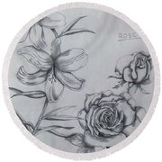 Flower Study 1 Round Beach Towel