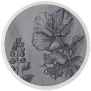 Flower Study 2 Round Beach Towel