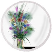 Round Beach Towel featuring the digital art Flower Study One by Darren Cannell