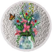 Round Beach Towel featuring the digital art Flower Study Three by Darren Cannell