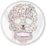 Flower Sugar Skull Round Beach Towel by Stephanie Troxell
