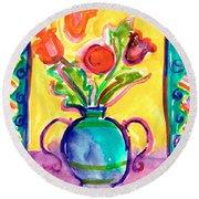 Flower Vase Round Beach Towel