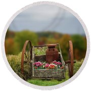 Round Beach Towel featuring the photograph Flower Wagon by Mary Timman