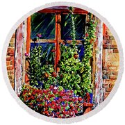 Flower Window Round Beach Towel