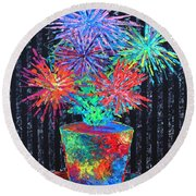 Flower-works Plant Round Beach Towel