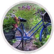 Flowered Bicycle Round Beach Towel