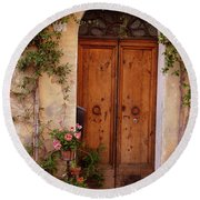 Flowered Tuscan Door Round Beach Towel