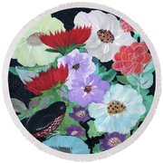 Round Beach Towel featuring the painting Floweret by Robin Maria Pedrero