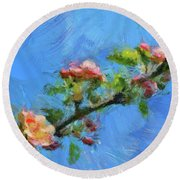 Flowering Apple Branch Round Beach Towel