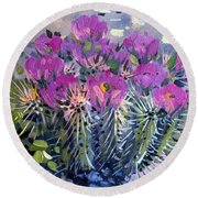 Flowering Cactus Round Beach Towel by Donald Maier