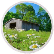 Flowering Hillside Meadow Round Beach Towel