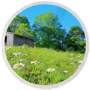 Flowering Hillside Meadow - View 2 Round Beach Towel