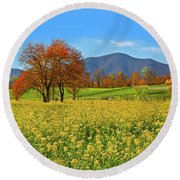 Flowering Meadow, Peaks Of Otter,  Virginia. Round Beach Towel